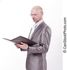 smiling businessman with a business folder .isolated on white.