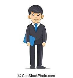 Smiling Businessman with Blue Folder. Vector