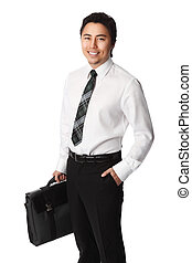 Smiling businessman with computer case