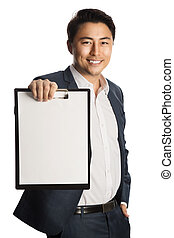 Smiling businessman with document