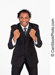 Smiling businessman with fist