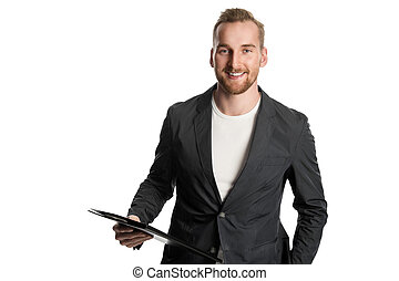 Smiling businessman with folder