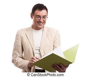 smiling businessman with folder