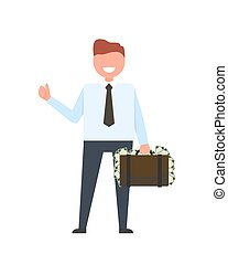 Smiling Businessman with Money Vector Illustration - Smiling...