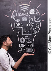 Smiling businessman with painted lightbulb on chalkboard