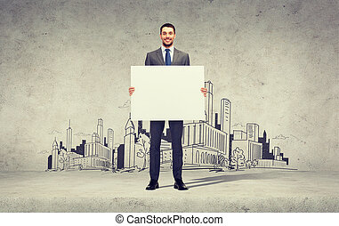 smiling businessman with white blank board - business, ...