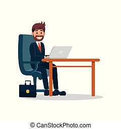 Smiling businessman working with laptop computer, business character working in office cartoon vector Illustration