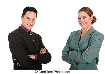 Smiling Businesspeople - Young successful smiling...