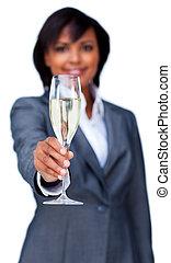 Smiling businesswoman celebrating