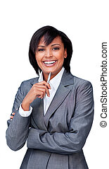 Smiling businesswoman celebrating