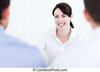 Smiling businesswoman having a job interview