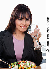 Smiling Businesswoman Having Glass of Water