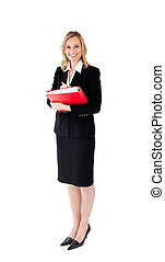 Smiling businesswoman holding a folder