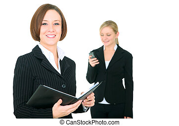 Smiling Businesswoman Holding Agenda