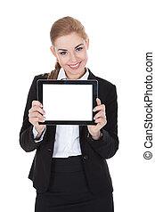 Smiling Businesswoman Holding Digital Tablet