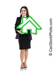 Smiling businesswoman holding house sign