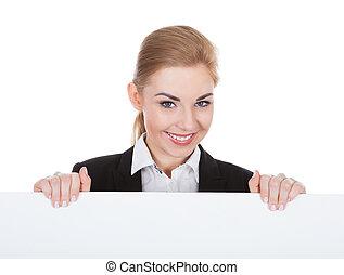 Businesswoman Holding Placard