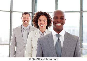Smiling businesswoman in a line