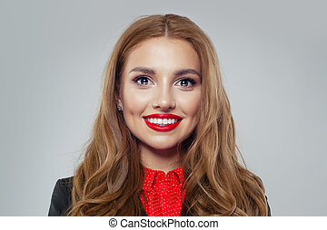 Smiling businesswoman on white background portrait