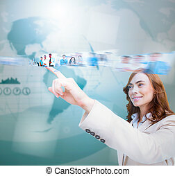 Smiling businesswoman scrolling pic