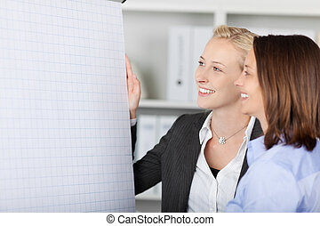 Smiling Businesswoman Standing By Flipchart