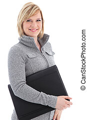 Smiling businesswoman with black leather folio