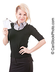 Smiling businesswoman with blank ID badge