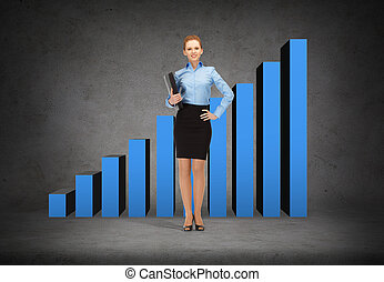 smiling businesswoman with folder