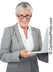 Smiling businesswoman with glasses