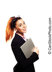Smiling businesswoman with her laptop