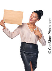 Smiling businesswoman with parcel