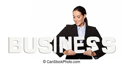 Smiling businesswoman with the word BUSINESS