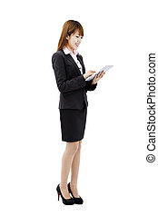 smiling businesswoman with touch pad tablet pc