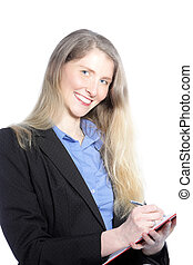 Smiling businesswoman writing notes