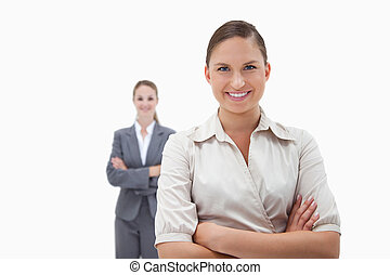 Smiling businesswomen posing