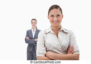 Smiling businesswomen posing