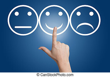 Smiling button - woman hand pointing to a smiling button on...
