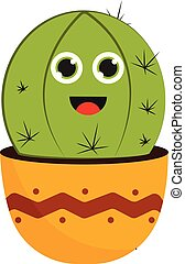 Smiling cactus vector or color illustration