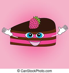 Smiling cake on a pink background.