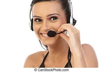 Smiling call-center operator.