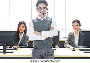 Smiling call Center team