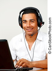 Smiling call center worker