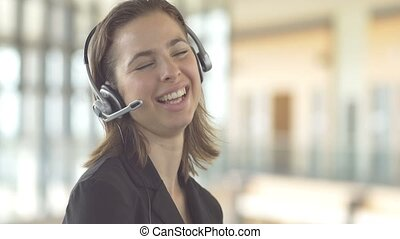 Smiling call centre customer servic