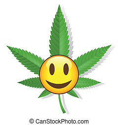 Smiling cannabis sign