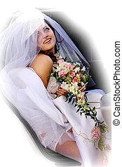 Smiling car in wedding car limousine