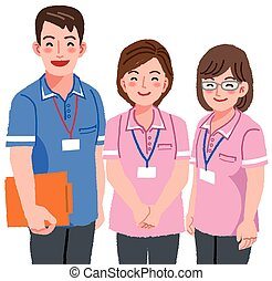 Smiling caregivers - Friendly care givers smiling with white...