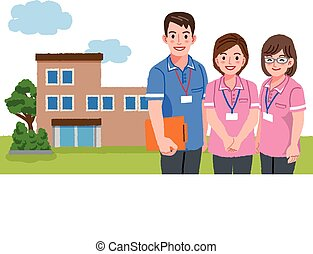 Smiling caregivers with nursing facility - Three caregivers...