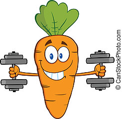 Smiling Carrot Cartoon Character Exercising With Dumbbells