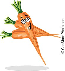 Smiling Carrot Cartoon Character Vector Illustration Isolated on white