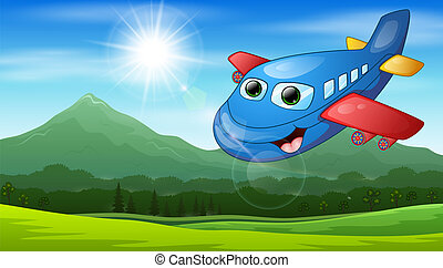 Smiling cartoon airplane flying in the mountain view